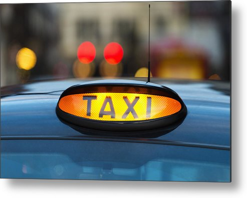 Horizontal Metal Print featuring the photograph Uk, England, London, Sign On Taxi Cab by Tetra Images