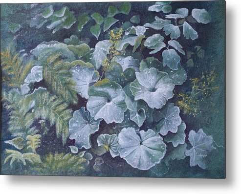 Surreal Landscape Metal Print featuring the painting Weeping Ladies Mantle by Patsy Sharpe