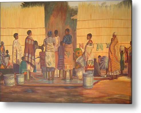 African Metal Print featuring the painting Women At Bolehole by Nisty Wizy