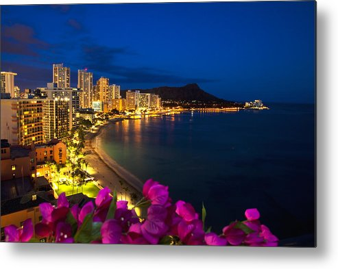 Above Metal Print featuring the photograph Classic Waikiki Nightime by Tomas del Amo - Printscapes