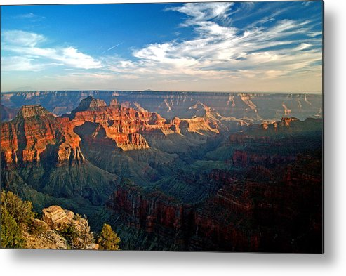 Landscape Metal Print featuring the photograph Grand Canyon National Park - Sunset On North Rim by Glenn W Smith