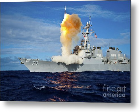 Missile Metal Print featuring the photograph Guided Missile Destroyer Uss Hopper 1 by Stocktrek Images