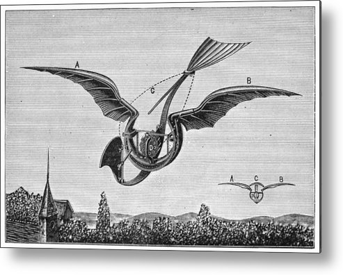 1870 Metal Print featuring the photograph Trouv�s Ornithopter by Granger