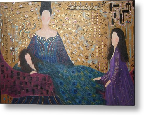 Figures Metal Print featuring the painting Vanity by Sheryl Sutherland
