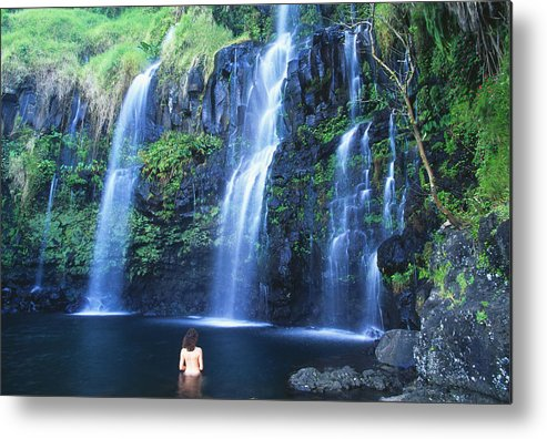 Base Metal Print featuring the photograph Woman At Waterfall by Dave Fleetham - Printscapes