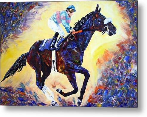 Abstract Horse Painting Metal Print featuring the painting Zenyatta Grand Finale by Jennifer Morrison Godshalk