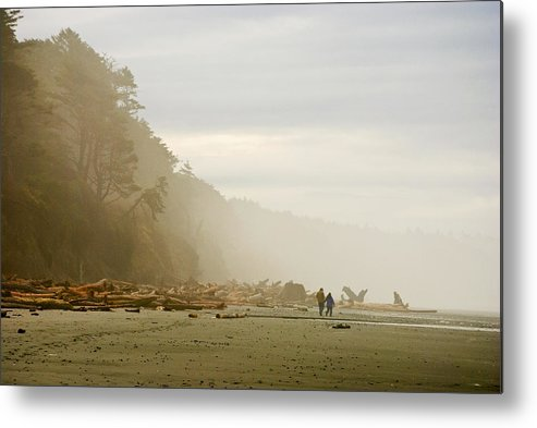 Washington State Olympic Peninsula Pacific Ocean Kalaloch Beach Beaches Seascape Seascapes Solitude Fog Foggy Couple Sand Water Driftwood Metal Print featuring the photograph Couple On A Foggy Beach by Wilbur Young