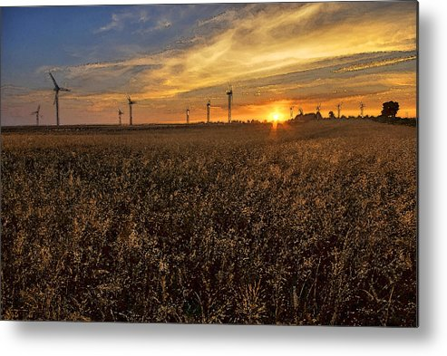 Sunrise Metal Print featuring the painting Sunrise Above Fields by Arkadiusz Wlodarczyk