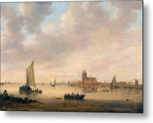 Jan Van Goyen Metal Print featuring the painting View Of Dordrecht From The Dordtse Kil by Jan van Goyen