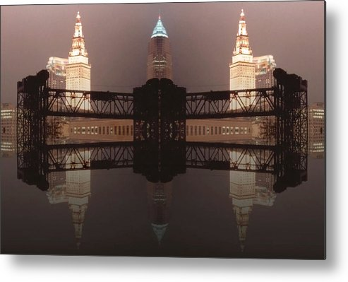 Cleveland Metal Print featuring the photograph A Mirror Image Reflection by Kenneth Krolikowski