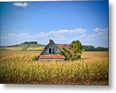 Abandoned Metal Print featuring the photograph Abandoned Corn Field House by Douglas Barnett