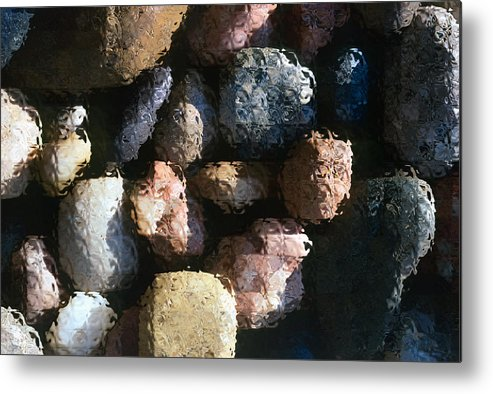 Rocks Metal Print featuring the photograph Abstract Of River Rocks 2 by Steve Ohlsen