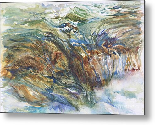 Water Over Rocks Metal Print featuring the painting After The Falls by B Rossitto