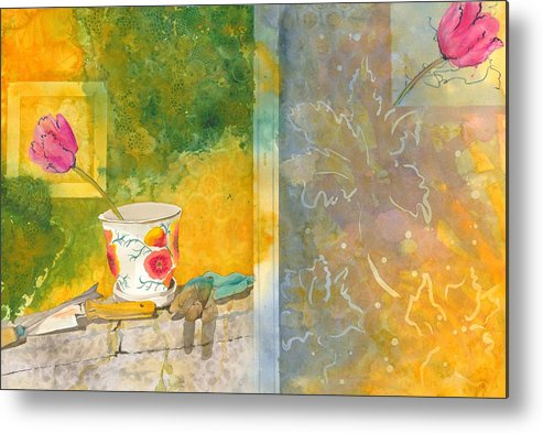 Garden Metal Print featuring the painting Along The Garden Wall by Jean Blackmer