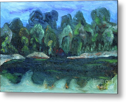 Metal Print featuring the painting American River Tree Bank 31 by Tom Sellas