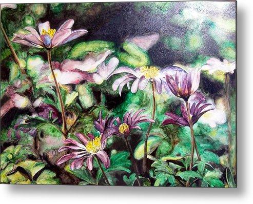 Floral Painting Metal Print featuring the painting Anemones Japonaises by Muriel Dolemieux