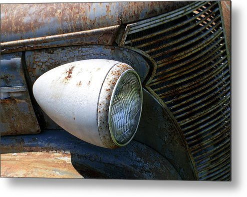 Antique Metal Print featuring the photograph Antique Car Headlight by Douglas Barnett
