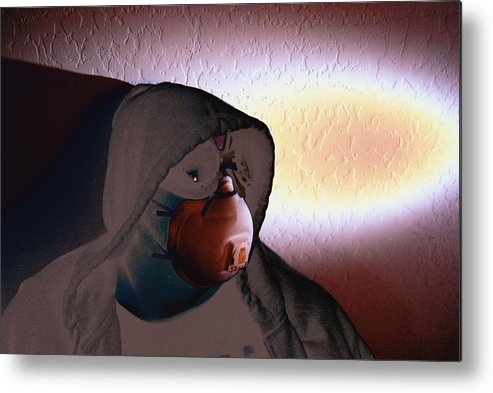 Cross Processing Photography Apocolypse Portrait Goggles Mask Face Light Humor Metal Print featuring the photograph Apocolypse Boy by Sean-Michael Gettys