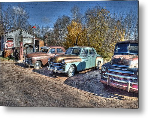 Post-processing Metal Print featuring the photograph At The Service Station by Janice Adomeit