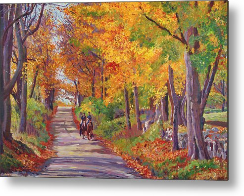 Landscape Metal Print featuring the painting Autumn Ride by David Lloyd Glover