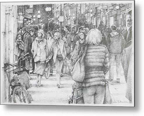 Avignon Metal Print featuring the drawing Avignon Shoppers by Jon Falkenmire