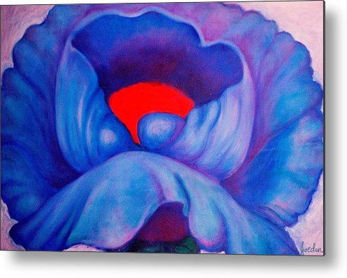Blue Bloom Metal Print featuring the painting Blue Bloom by Jordana Sands