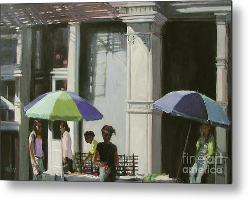 City Metal Print featuring the painting Blue Umbrellas by Patti Mollica