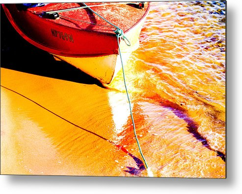 Boat Abstract Yellow Water Orange Metal Print featuring the photograph Boat Abstract by Sheila Smart Fine Art Photography