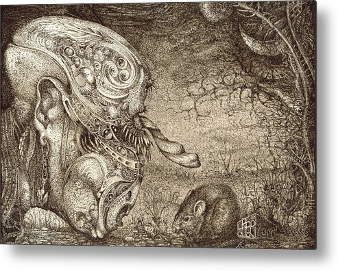 Surreal Metal Print featuring the drawing Bogomils Mousetrap by Otto Rapp