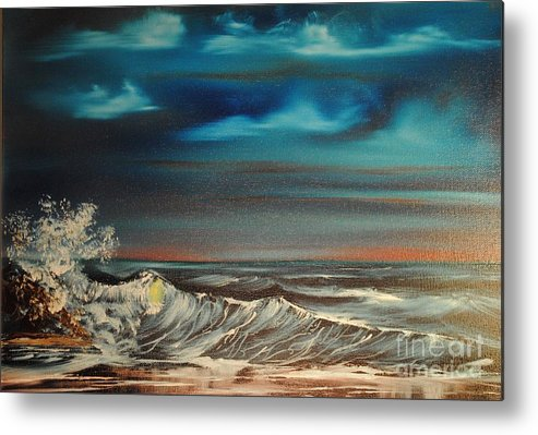 Ocean Metal Print featuring the painting Brewing Storm by James Higgins