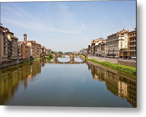 Arno Metal Print featuring the photograph Bridge Over Arno River In Florence Italy by Darryl Brooks