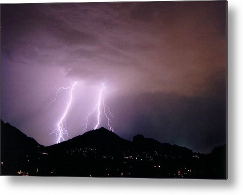 Lightning Metal Print featuring the photograph Camelback Scratch by Cathy Franklin