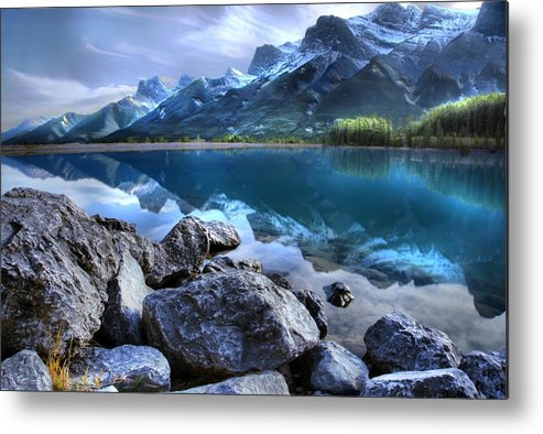 Canmore Metal Print featuring the photograph Canmore Reservoir Under A Setting Sun by Ken McMullen