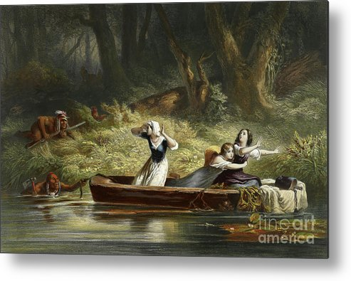 Indians Metal Print featuring the painting Capture Of The Daughters Of Daniel Boone And Richard Callaway By The Indians by Karl Bodmer