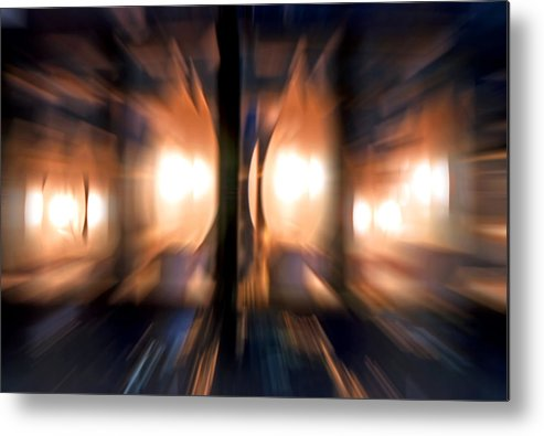Lights Metal Print featuring the photograph Chandelier With Zoom Effect by Steve Ohlsen
