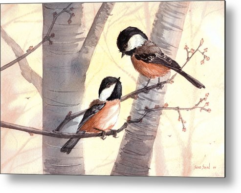Birds Metal Print featuring the painting Chic Chat by Sean Seal