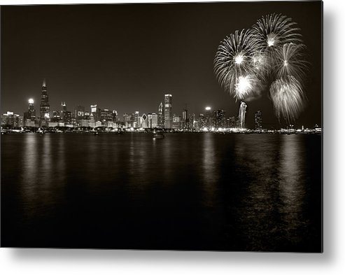 4th Metal Print featuring the photograph Chicago Skyline Fireworks Bw by Steve Gadomski