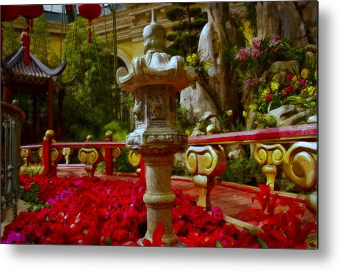 Landscape Metal Print featuring the painting China Garden by Stephen Campbell