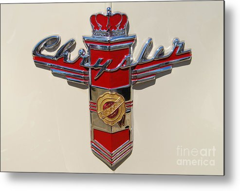 Automobile Metal Print featuring the photograph Chrysler Hood Logo by Larry Keahey