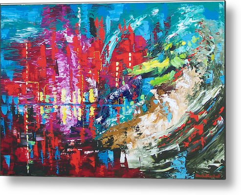 Abstract Metal Print featuring the painting City Of Oz by Claude Marshall