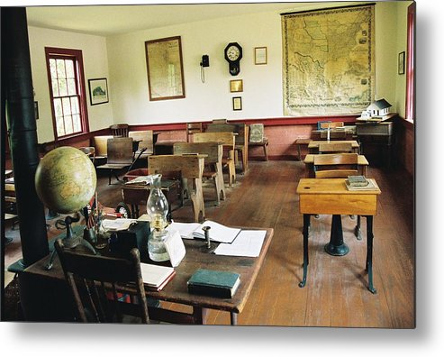 One Room School House Metal Print featuring the photograph Classroom Inside Of Charlestown Rhode Island by Cheryl Martin