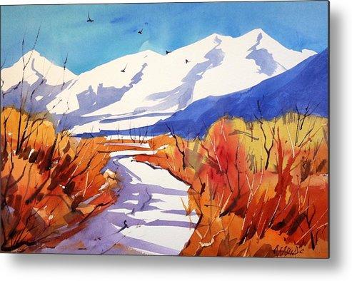 Colorado Winter Rocky Mountains Snow Metal Print featuring the painting Colorado Winter 2 by Ugljesa Janjic