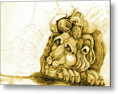 Lion Metal Print featuring the drawing Cordoba Lion by Dan Earle