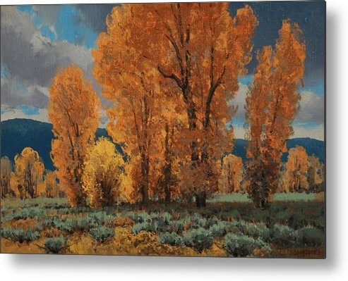 Metal Print featuring the painting Cottonwood Glory by Lanny Grant