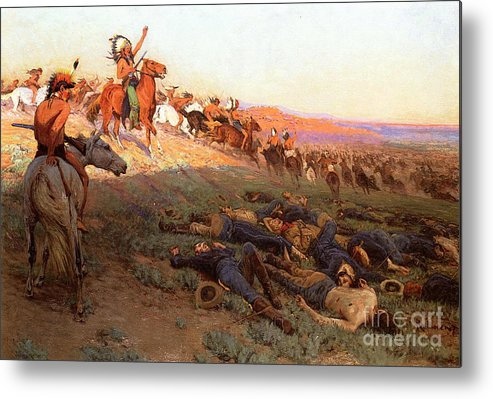 Custer's Last Stand; Battle; Little Bighorn; Greasy Grass; George Armstrong Custer; Crazy Horse; Native American Indian; Indians; Americans; United States; Army; Cavalry; Horses; Great Sioux War; Lakota; Northern Cheyenne; Arapho; Dead; Death; Bodies; Triumph; Victory; Triumphal; Leader; Dusk; Sunset; Dramatic; Heroic; Black Hills War; Combat; Warfare; Battles Metal Print featuring the painting Custer's Last Stand by Richard Lorenz