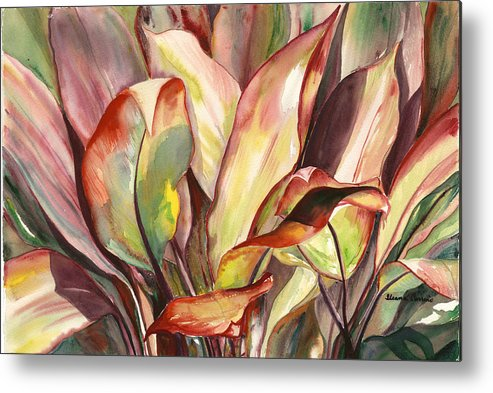 Tropical Foliage Metal Print featuring the painting Dancing Ti Leaves by Ileana Carreno
