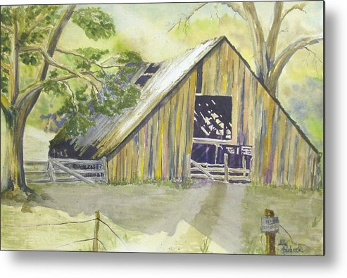 Old Barn Metal Print featuring the painting Day Is Done by Ally Benbrook