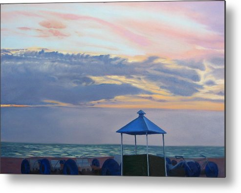 Sunset Metal Print featuring the painting Day Is Done by Lea Novak