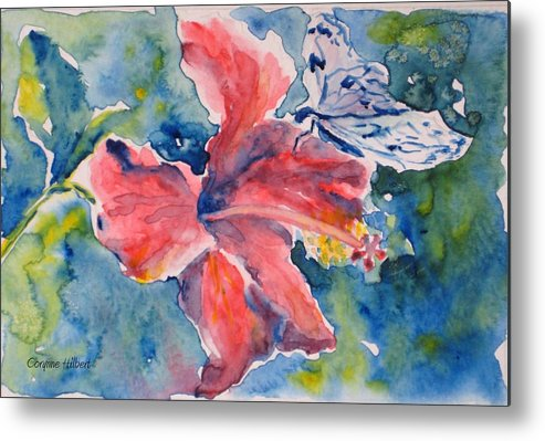 Butterfly Metal Print featuring the painting Delicate Butterfly by Corynne Hilbert