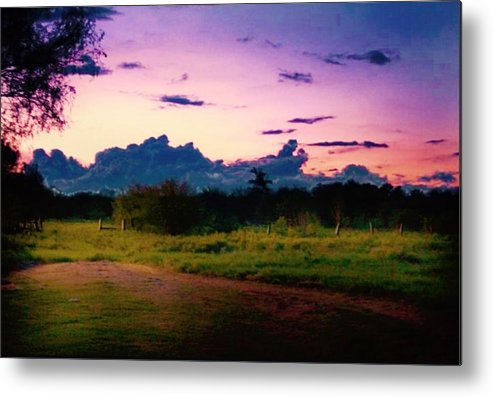 Sunset Metal Print featuring the photograph Distant Rain by Trey McCoy